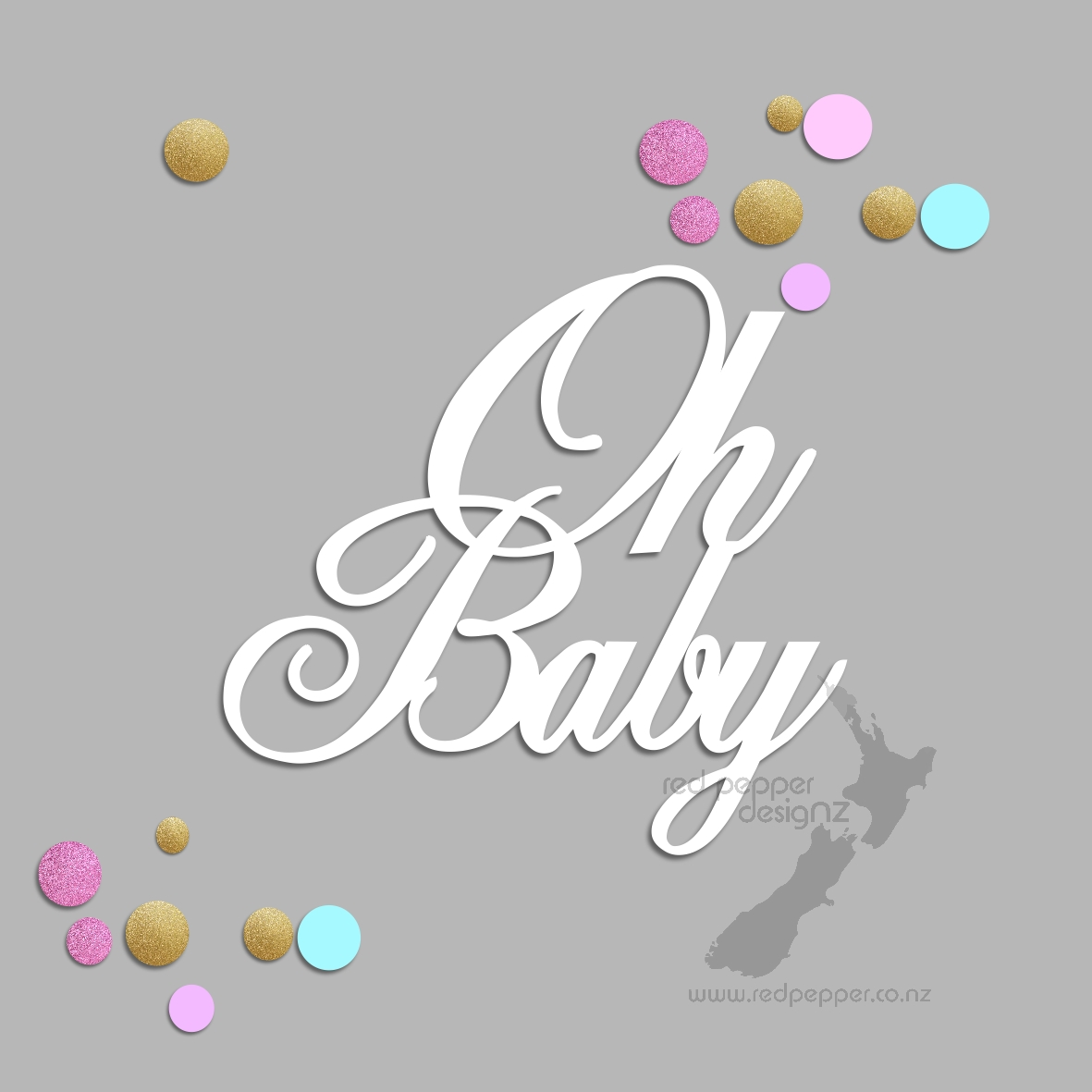Oh Baby Cake Topper Red Pepper Designz